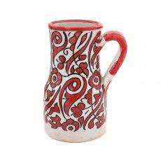 【一点もの】モロッコ フェズ 陶器 花瓶(レッド)