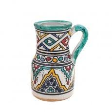 【一点もの】モロッコ フェズ 陶器 花瓶(ブルーグリーン)