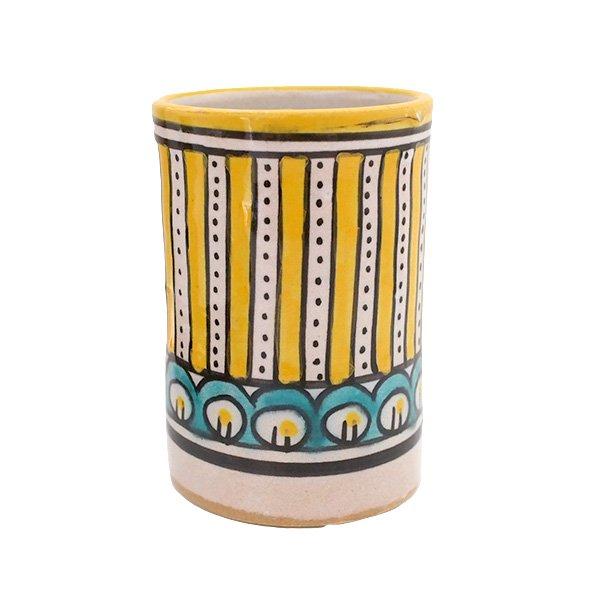モロッコ フェズ 陶器 コップ  イエロー (高さ約11cm×直径約7.5cm)