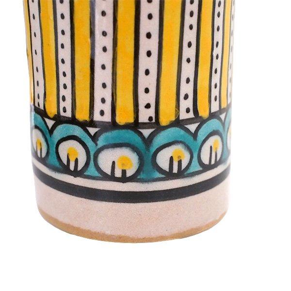 モロッコ フェズ 陶器 コップ  イエロー (高さ約11cm×直径約7.5cm)【画像3】