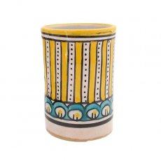 モロッコ フェズ 陶器 コップ 高さ 約11cm(イエロー)