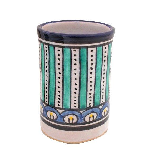 モロッコ フェズ 陶器 コップ  ブルー (高さ約11cm×直径約7.5cm)