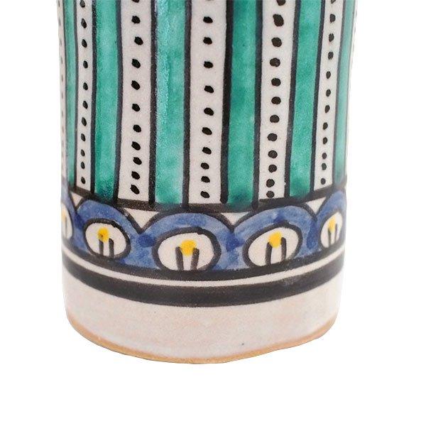 モロッコ フェズ 陶器 コップ  ブルー (高さ約11cm×直径約7.5cm)【画像3】