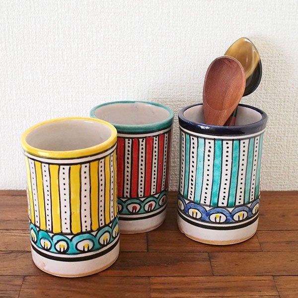 モロッコ フェズ 陶器 コップ  ブルー (高さ約11cm×直径約7.5cm)【画像4】