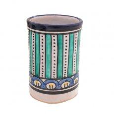 モロッコ フェズ 陶器 コップ 高さ 約11cm(ブルー)
