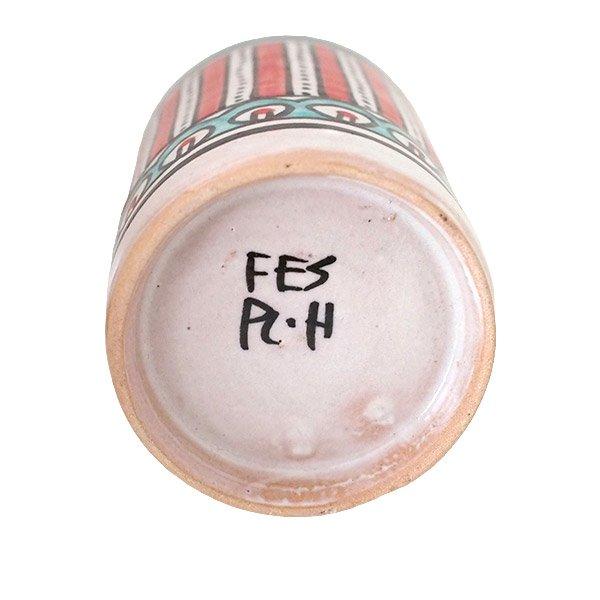 モロッコ フェズ 陶器 コップ 高さ 約11cm(レッド)【画像2】