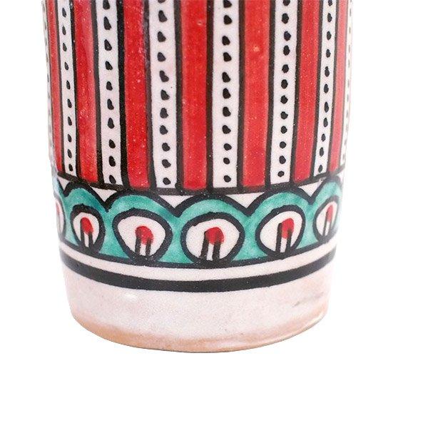 モロッコ フェズ 陶器 コップ 高さ 約11cm(レッド)【画像3】