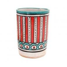 モロッコ フェズ 陶器 コップ 高さ 約11cm(レッド)