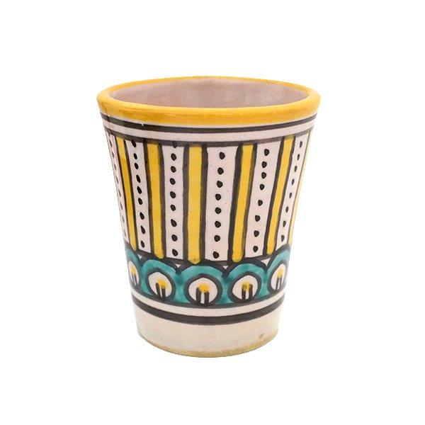 モロッコ フェズ 陶器 コップ  イエロー (高さ約9cm×直径約7cm)
