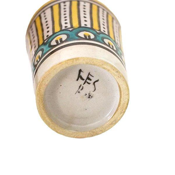 モロッコ フェズ 陶器 コップ  イエロー (高さ約9cm×直径約7cm)【画像2】