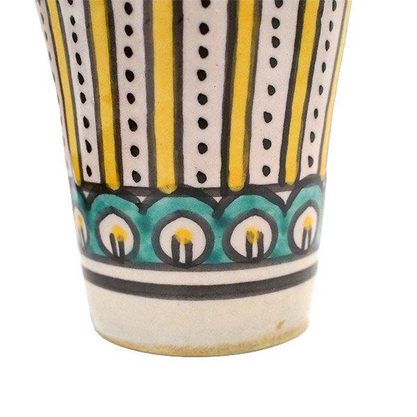 モロッコ フェズ 陶器 コップ  イエロー (高さ約9cm×直径約7cm)【画像3】