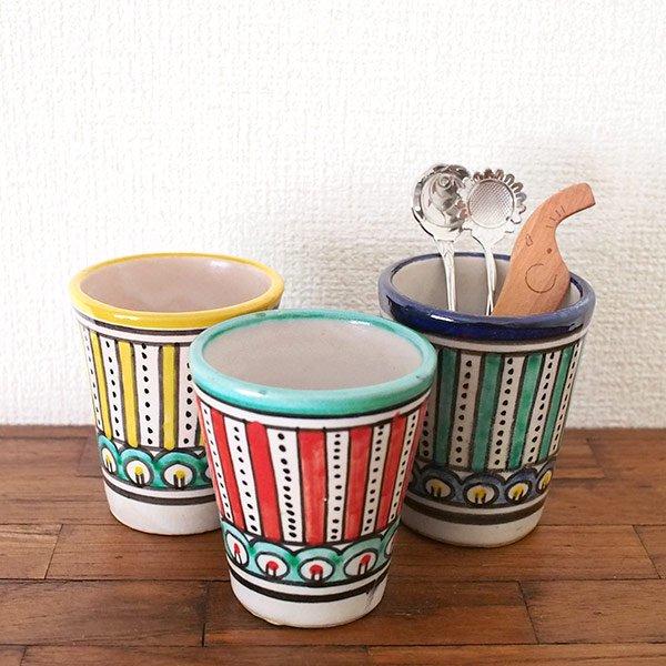 モロッコ フェズ 陶器 コップ  イエロー (高さ約9cm×直径約7cm)【画像4】