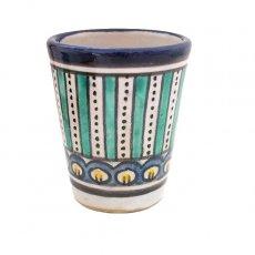 モロッコ フェズ 陶器 コップ 高さ 約9cm(ブルー)