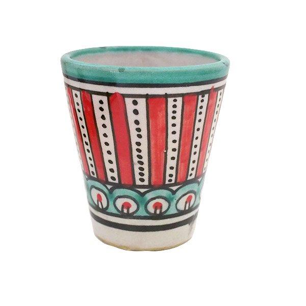 モロッコ フェズ 陶器 コップ  レッド (高さ約9cm×直径約7cm)