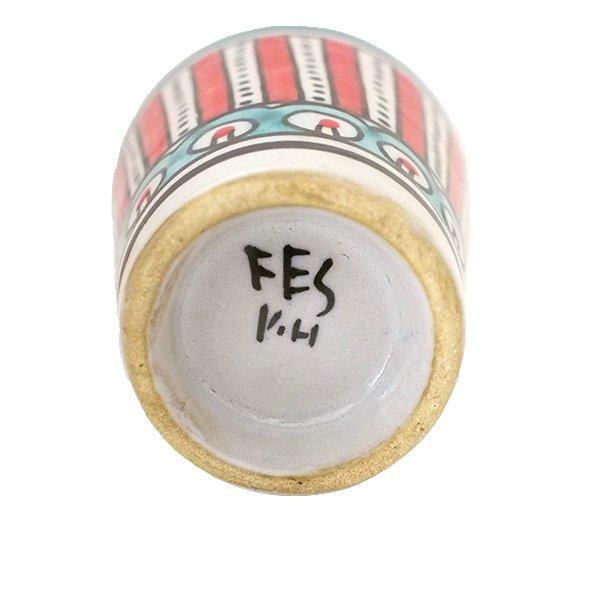 モロッコ フェズ 陶器 コップ  レッド (高さ約9cm×直径約7cm)【画像2】