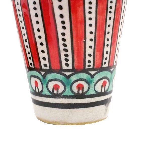 モロッコ フェズ 陶器 コップ  レッド (高さ約9cm×直径約7cm)【画像3】