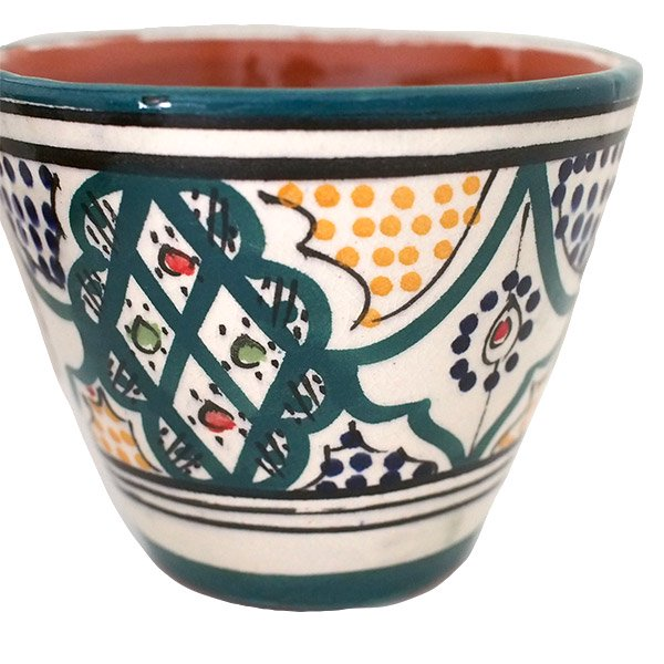モロッコ サフィ陶器 カップ グリーン (直径 約11cm×高さ約9cm)【画像3】
