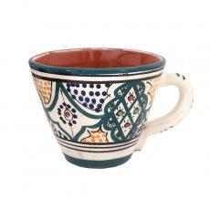 モロッコ サフィ陶器 カップ グリーン (直径 約11cm×高さ約9cm)