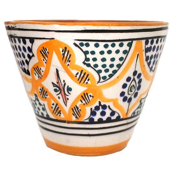 モロッコ サフィ陶器 カップ  オレンジ (直径 約11cm×高さ約9cm)【画像3】