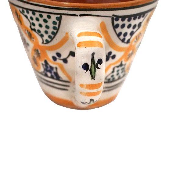 モロッコ サフィ陶器 カップ  オレンジ (直径 約11cm×高さ約9cm)【画像4】
