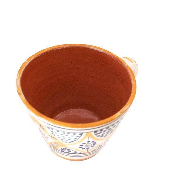 モロッコ サフィ陶器 カップ  オレンジ (直径 約11cm×高さ約9cm)【画像5】