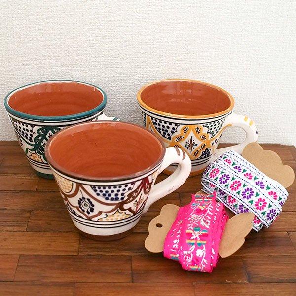 モロッコ サフィ陶器 カップ  オレンジ (直径 約11cm×高さ約9cm)【画像6】