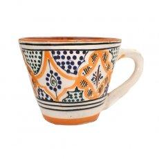 モロッコ サフィ陶器 カップ  オレンジ (直径 約11cm×高さ約9cm)