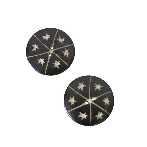 ネパール 水牛の角で作られた ボタン(丸 模様 直径3cm)ハンドメイド 手芸
