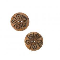 ネパール  水牛の角で作られたボタン(茶 丸形 模様 直径3cm)ハンドメイド 手芸