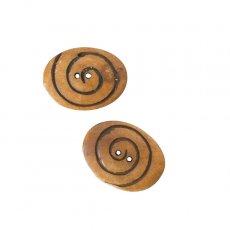 ネパール 水牛の角で作られたボタン(茶 楕円形 模様 3×3.5)ハンドメイド 手芸