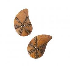 ネパール 水牛の角で作られたボタン(茶 勾玉風 4×2.5)ハンドメイド 手芸