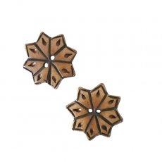 ネパール 水牛の角で作られたボタン(茶 星型 3×3)ハンドメイド 手芸