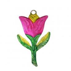 メキシコ ブリキ  メキシコ ブリキオーナメント(花 ピンク)