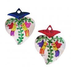 トリ (鳥) 雑貨 メキシコ ブリキオーナメント(トリ ハート 2色)