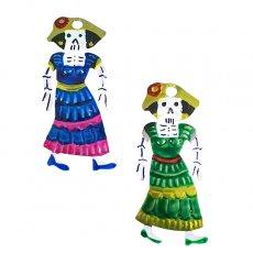 メキシコ ブリキオーナメント(ガイコツ スカル D  2色)