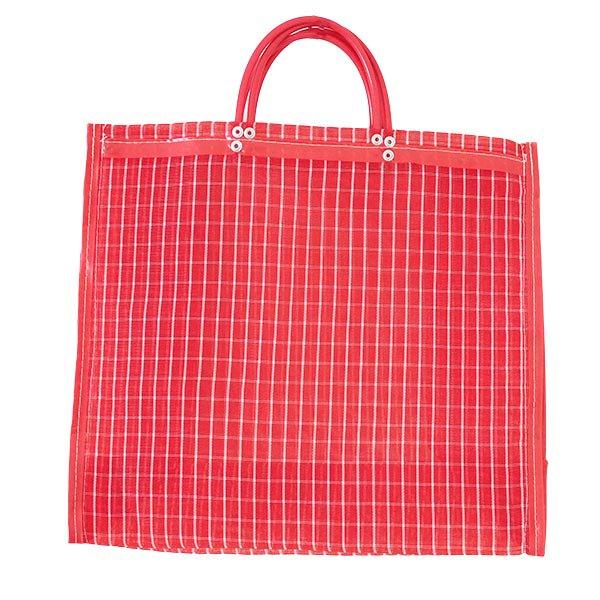 【メキシコ直輸入】メキシコ メルカド メッシュ バッグ (マチ付き レッド 格子)