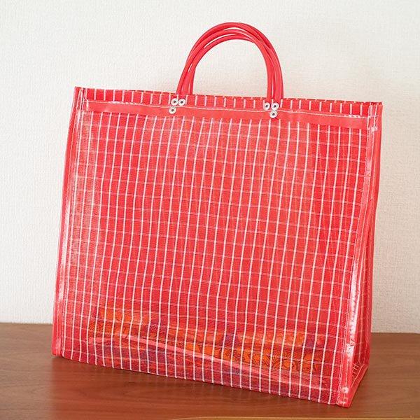 【メキシコ直輸入】メキシコ メルカド メッシュ バッグ (マチ付き レッド 格子)【画像5】