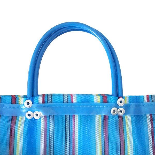 【メキシコ直輸入】メキシコ メルカド メッシュ バッグ (マチ付き ブルー ストライプ A)【画像2】