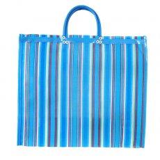 【メキシコ直輸入】メキシコ メルカド メッシュ バッグ (マチ付き ブルー ストライプ A)