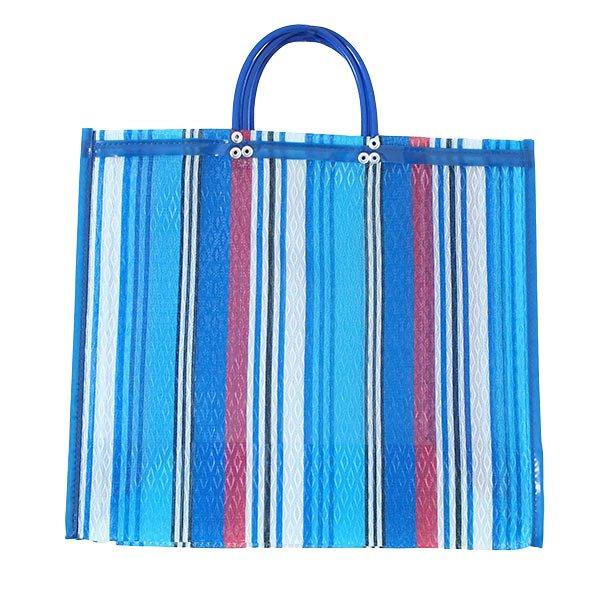 【メキシコ直輸入】メキシコ メルカド メッシュ バッグ (マチ付き ブルー ストライプ B)