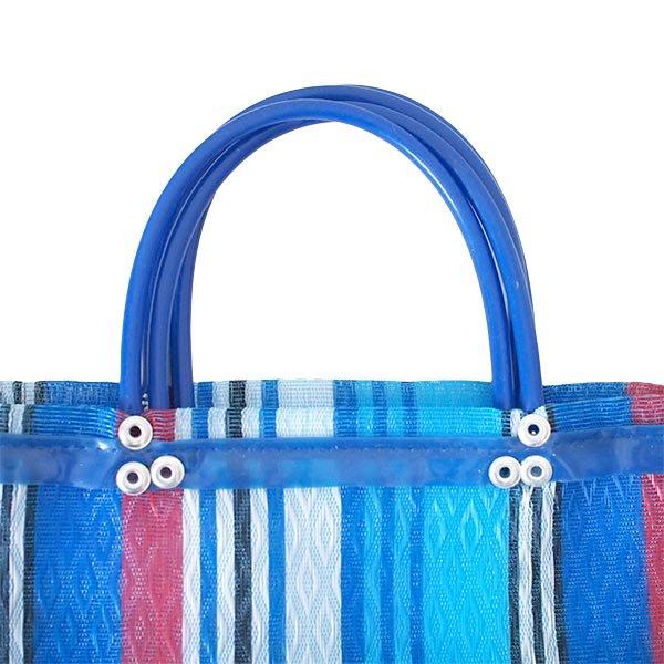 メキシコ メルカド メッシュ バッグ (マチ付き ブルー ストライプ B)【画像2】