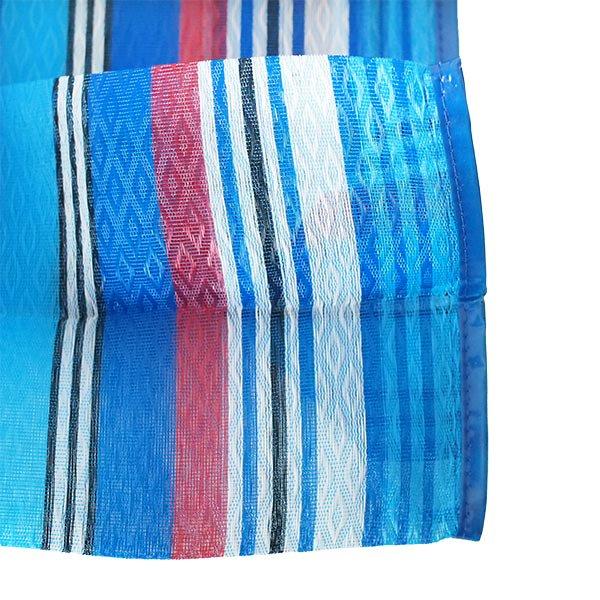 【メキシコ直輸入】メキシコ メルカド メッシュ バッグ (マチ付き ブルー ストライプ B)【画像4】