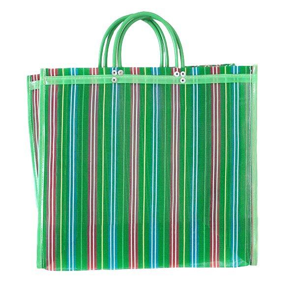 【メキシコ直輸入】メキシコ メルカド メッシュ バッグ (マチ付き グリーン ストライプ A)