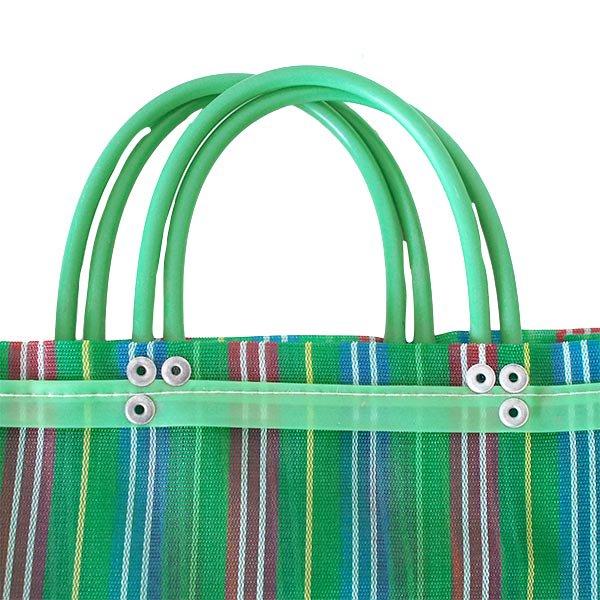 【メキシコ直輸入】メキシコ メルカド メッシュ バッグ (マチ付き グリーン ストライプ A)【画像2】