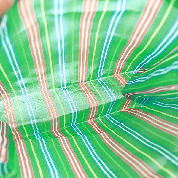【メキシコ直輸入】メキシコ メルカド メッシュ バッグ (マチ付き グリーン ストライプ A)【画像3】