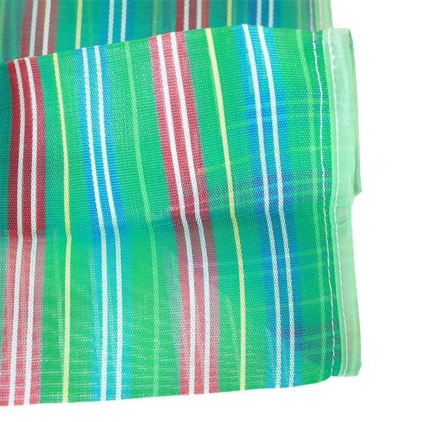 【メキシコ直輸入】メキシコ メルカド メッシュ バッグ (マチ付き グリーン ストライプ A)【画像4】