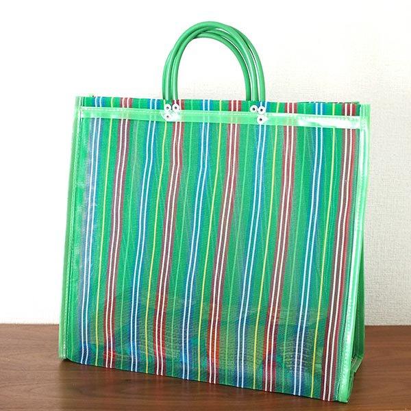 【メキシコ直輸入】メキシコ メルカド メッシュ バッグ (マチ付き グリーン ストライプ A)【画像5】