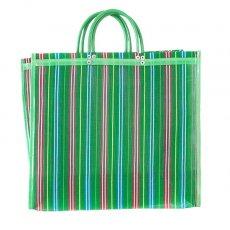 メキシコ メルカド メッシュ バッグ (マチ付き グリーン ストライプ A)