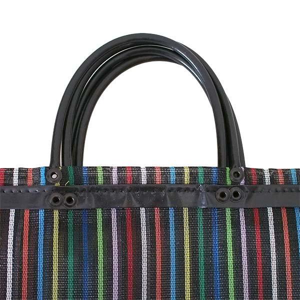 【メキシコ直輸入】メキシコ メルカド メッシュ バッグ (マチ付き ブラック ストライプ)【画像2】