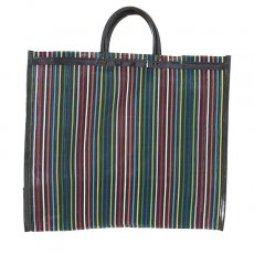 【メキシコ直輸入】メキシコ メルカド メッシュ バッグ (マチ付き ブラック ストライプ)